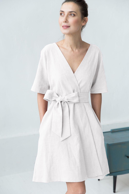 Wrap Linen Dress Kimono Dress Bow Dress Linen Clothes Etsy Petite Wrap Dress Linen Clothes Linen Dress [ 1500 x 1001 Pixel ]