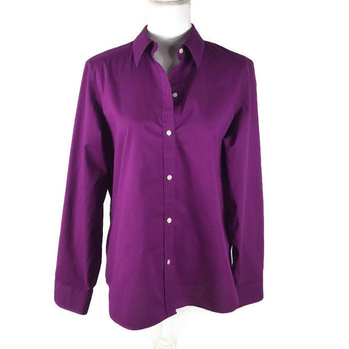 79840c20 Chaps Womens Size XL Button Down Shirt No Iron Purple Long Sleeve #fashion # clothing