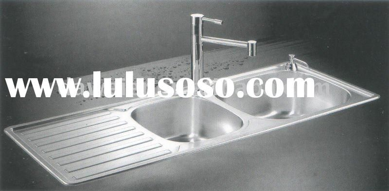 Nice Stainless Kitchen Double Sink With Drainboard, Stainless Kitchen .