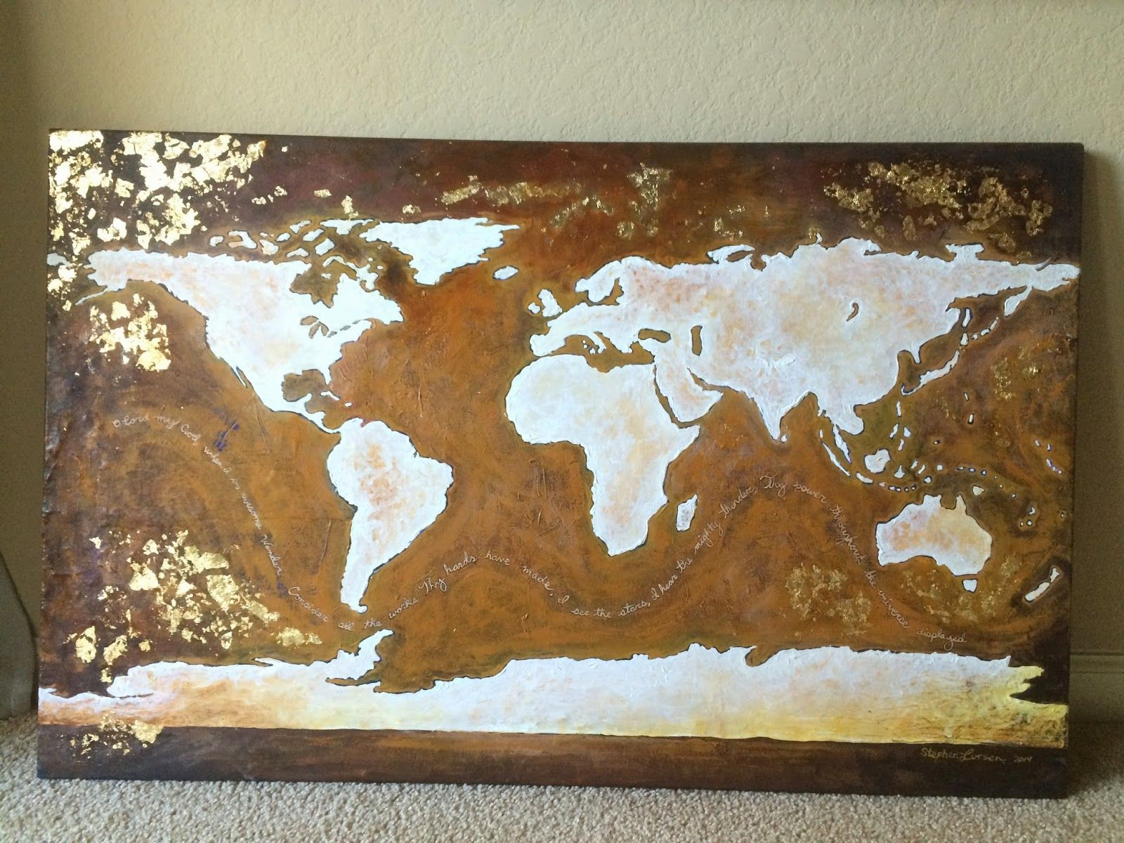 24 x 48 acrylic and gold leaf world map on canvas 2014 stephen 24 x 48 acrylic and gold leaf world map on canvas 2014 gumiabroncs Gallery