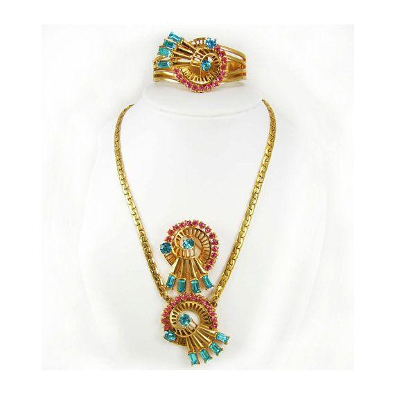 FABULOUS rhinestone signed Parure statement necklace bracelet brooch original tag ANthony