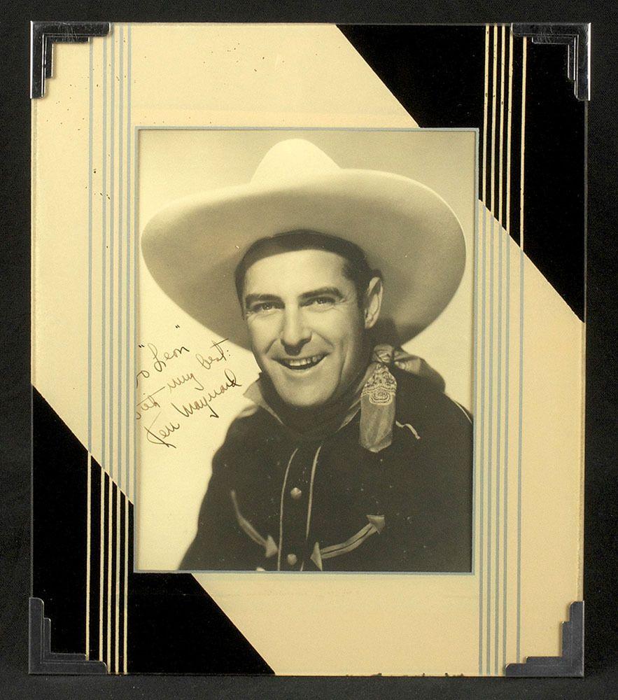 Art Deco 1930s Reverse Painted Frame Vintage Machine Age Ken Maynard Autograph #Unknown