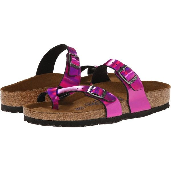 e58b93c9041 Birkenstock Mayari Soft Footbed (Mirror Pink Birko-Flor ) Sandals ( 55) ❤  liked on Polyvore featuring shoes