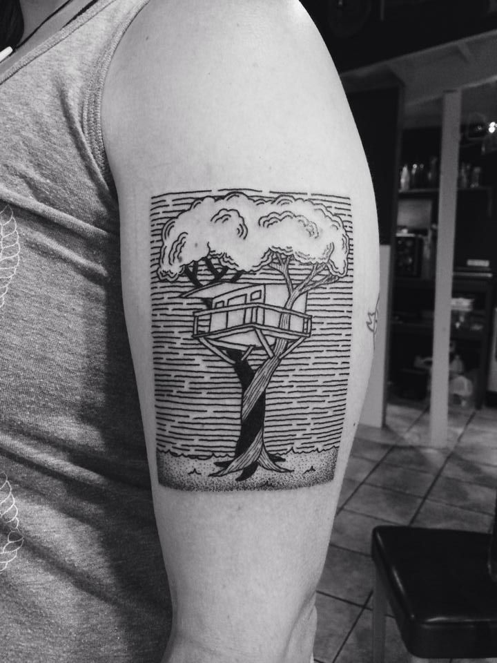 I Love The Look Of This Treehouse Tattoo By Tara Johnston At