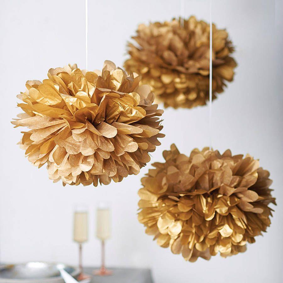 Metallic Hanging Pom Pom Decoration Pom Pom Decorations Paper Pom Pom Paper Pom Poms