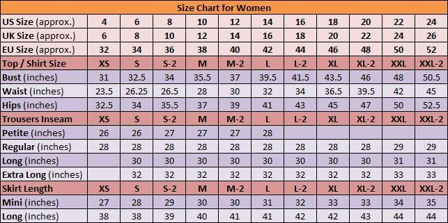 Awesome Size Chart Womens Size Chart Clothing Size Chart