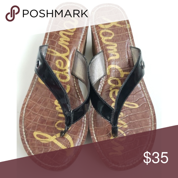 890d754c0 Sam Edelman Romy black cork heel wedge sandals Sam Edelman Romy Patent  Platform Cork Thong Flip