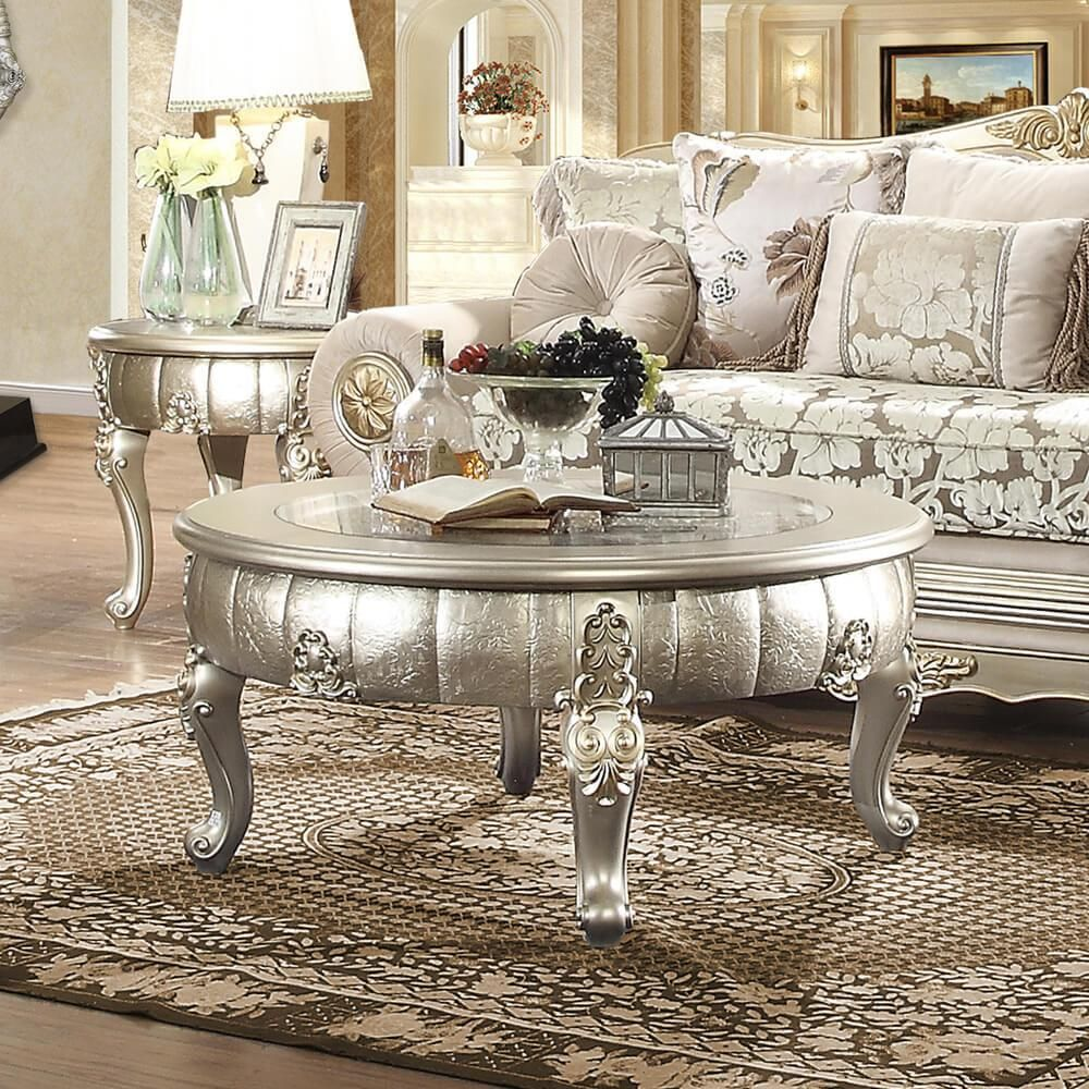 Belle Silver Coffee Table Set 3pcs Carved Wood Homey Design Hd 1560 Traditional Hd 1560 Ctset3 In 2021 Traditional Coffee Table Coffee Table Silver Coffee Table [ 1000 x 1000 Pixel ]