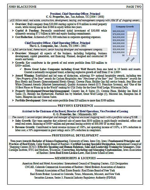 CEO - Real Estate Resume Sample Page 2 Resume Samples - ceo resume samples