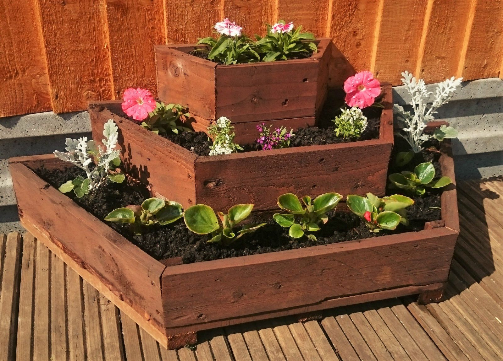 3 tier wooden planter raised bed handmade from reclaimed