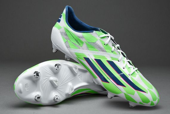 best sneakers cfadc c8e7a Mens Football Boots - adidas F50 Adizero SG - Soft Ground - Soccer Cleats -  Core White Rich Blue Solar Green