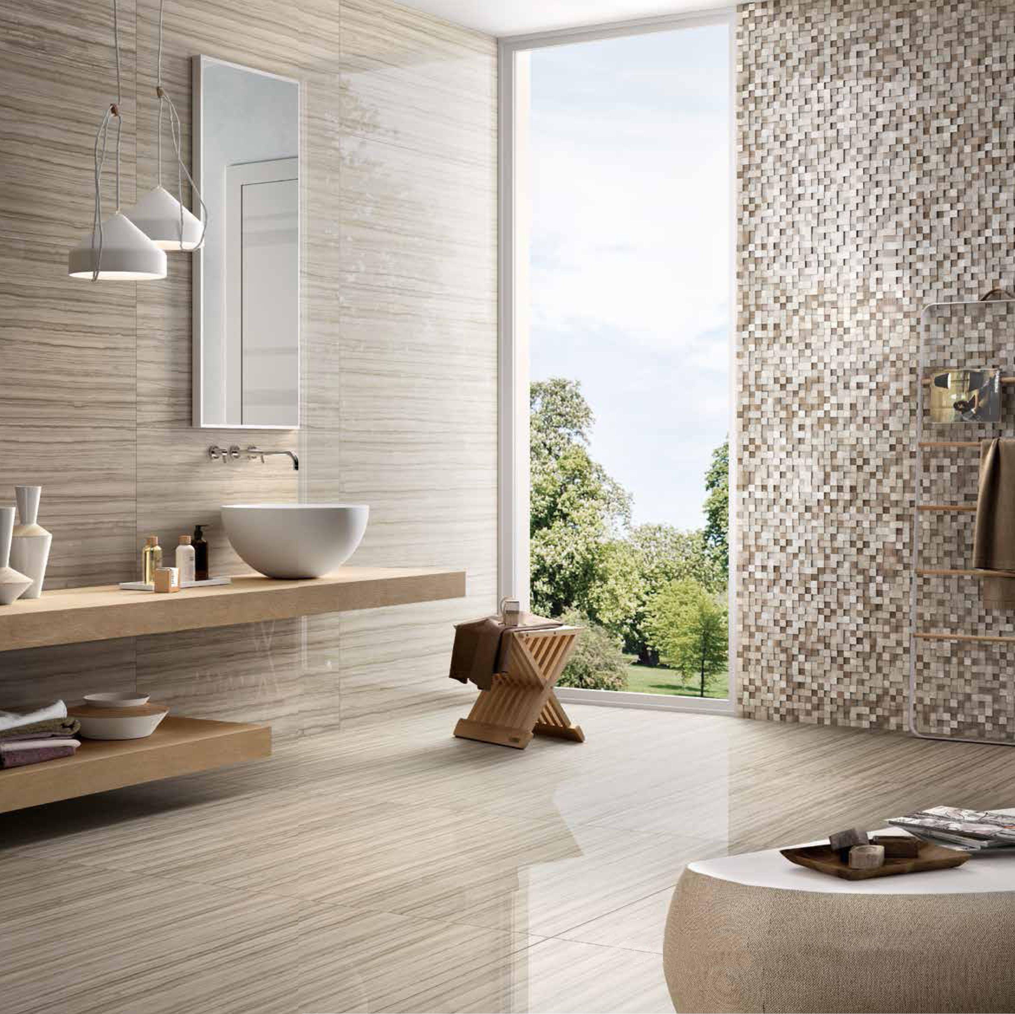 This modern bathroom has a marble look porcelain tile called Lucida ...