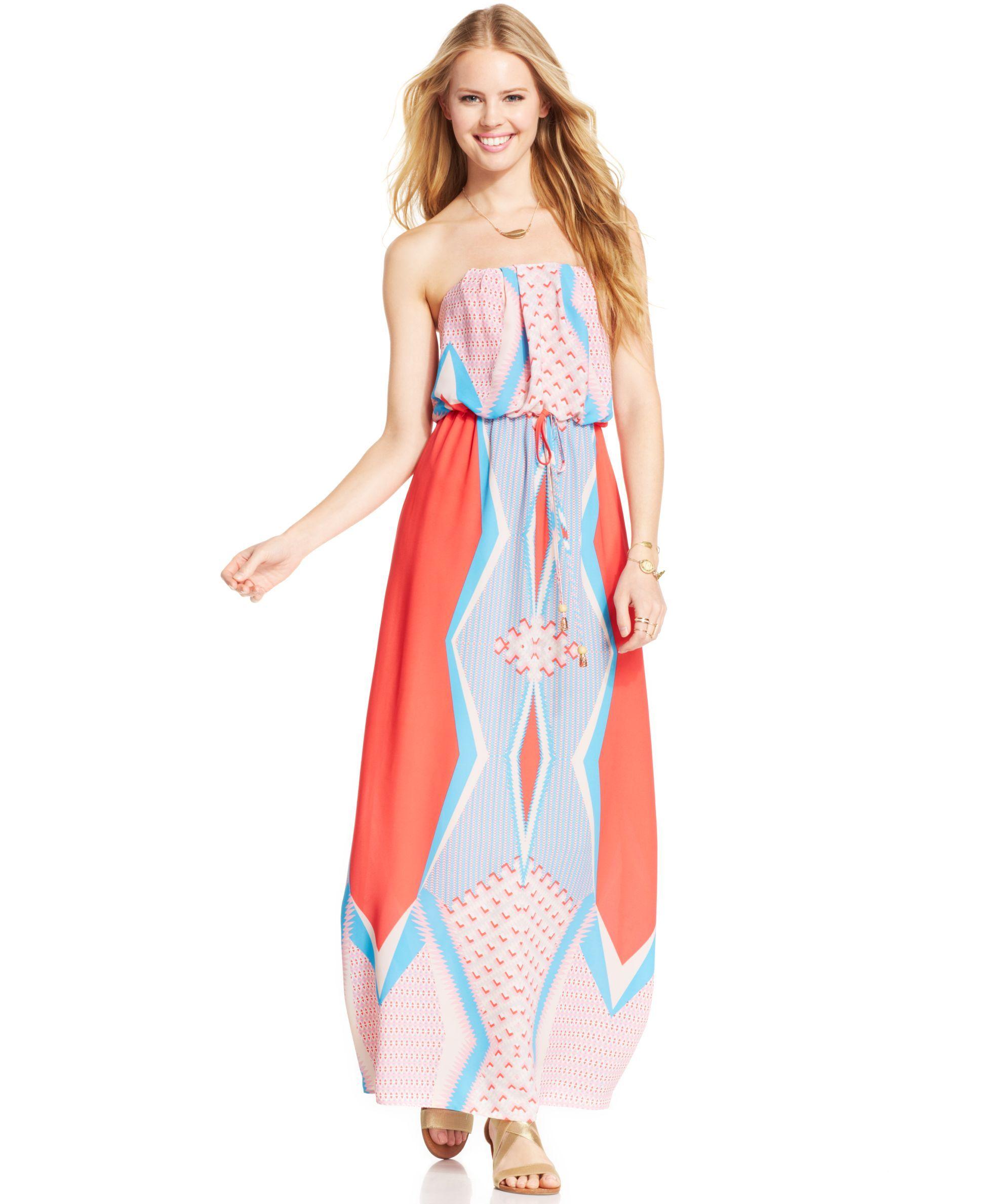 City studios juniorsu printed drawstring maxi dress products