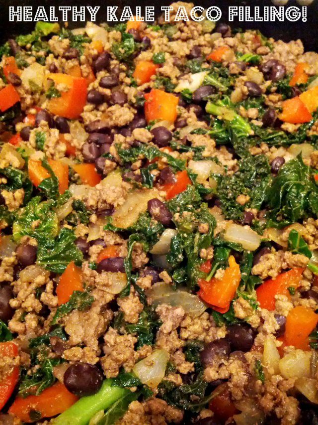 Kale and Ground Beef/Turkey Taco Filling #groundturkeytacos