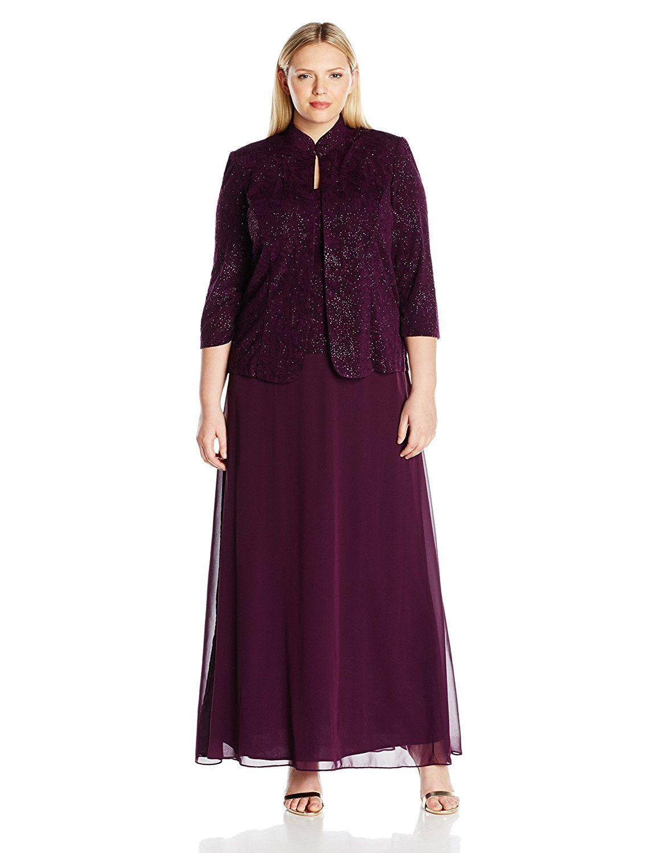 Alex evenings plus size eggplant dress womenus fashion