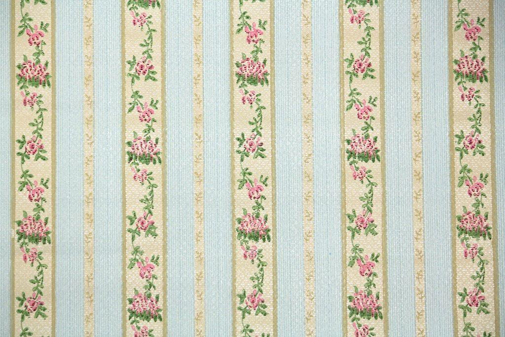 1920's Vintage Wallpaper Antique Floral Stripe with
