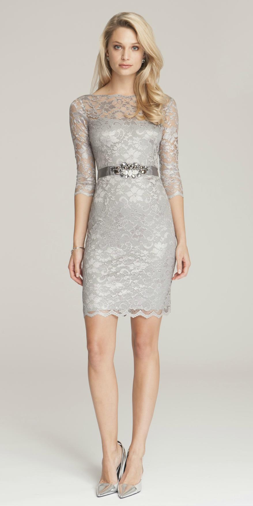 silver or gray mother of the bride dresses lace cocktail