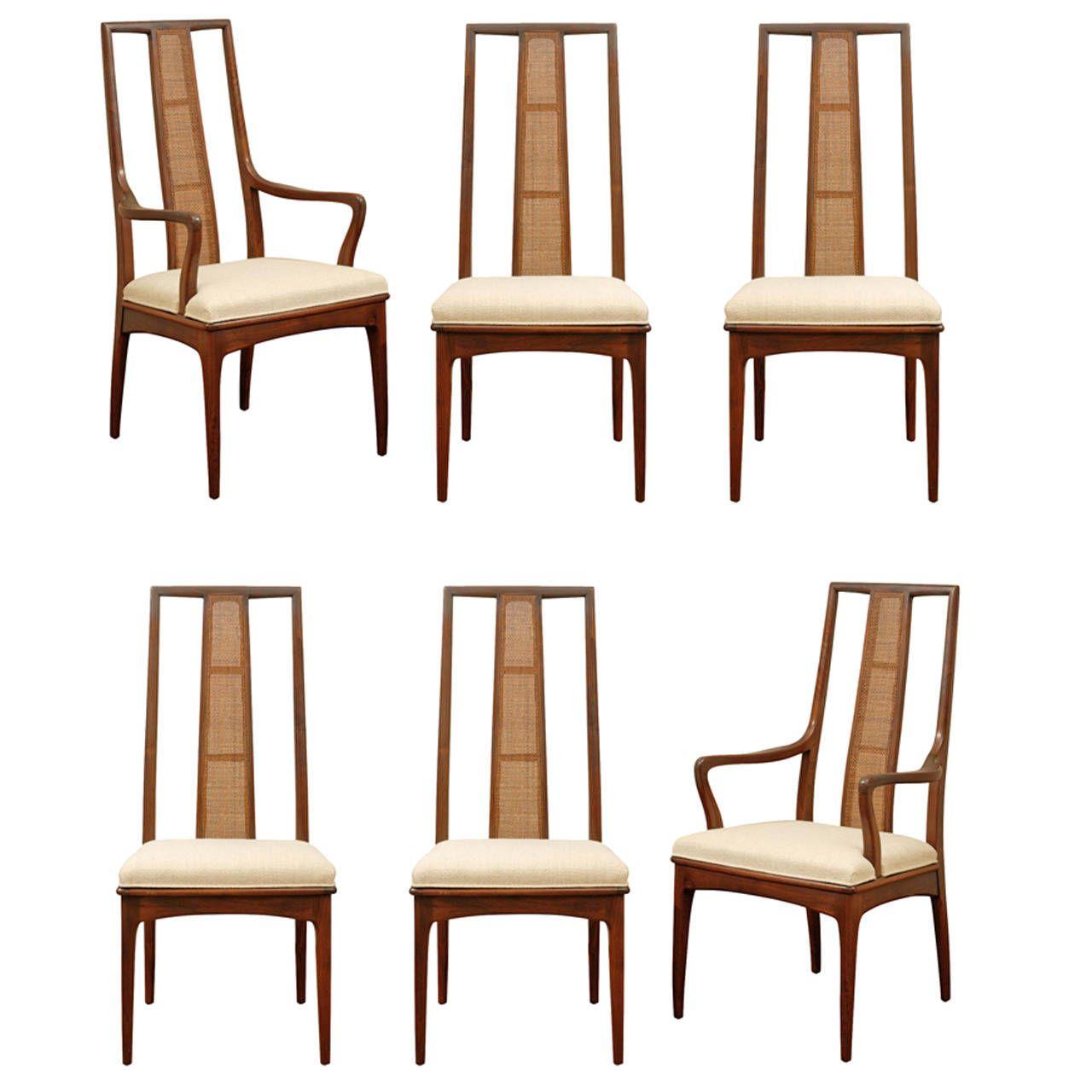 Elegant Set Of Six Walnut And Cane Dining Chairs By John Stuart
