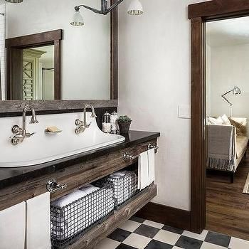 Captivating Country Style Bathroom With Reclaimed Wood Sink Vanity With Trough Sink