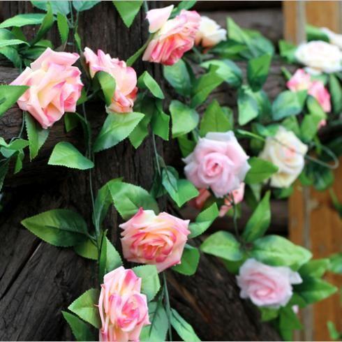 Best Wholesale-250cm Length Purple Simulation Rose Garland Silk
