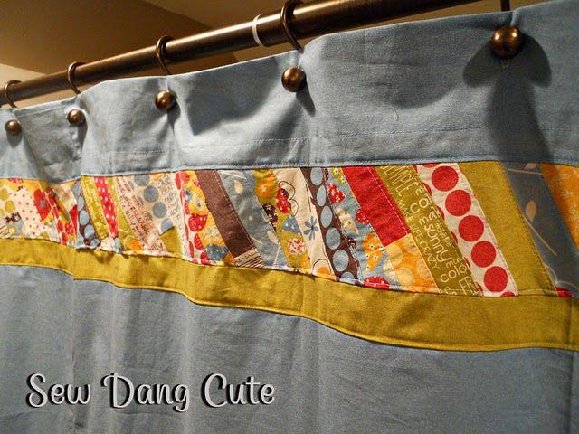 Curtain tutorial (I like the inset fabric idea)