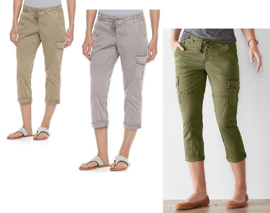 98c7cbdec2285 SONOMA Womens Utility Cargo Capri Pants size 4 6 8 10 12 14 16 NEW 14.99