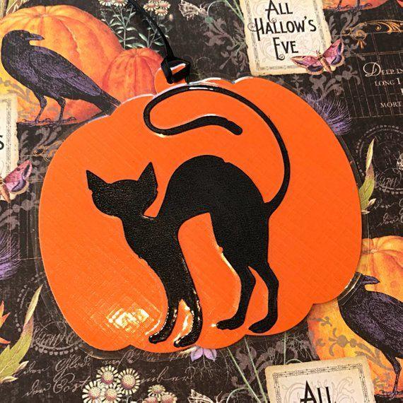 Black Cat Halloween decoration, handmade pumpkin with black cat