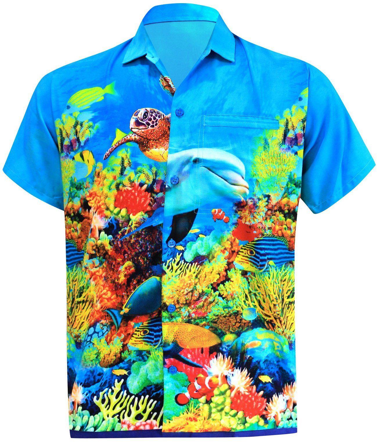 5bfb0013 LA LEELA Men's Aloha Hawaiian Shirt Short Sleeve Button Down Casual Beach  Party