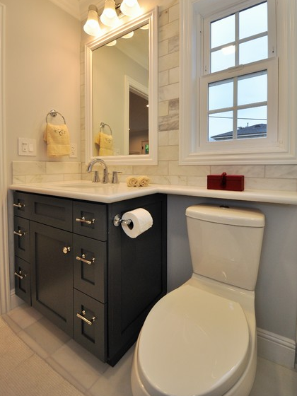 Extend Countertop Over The Water Closet For More Shelf Space