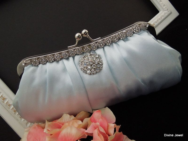 Bridal Wedding ClutchSomething Blue by DivineJewel on Etsy, $67.00