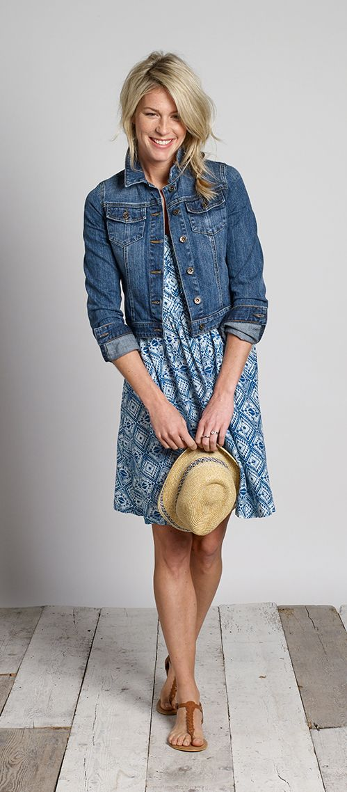 Hemsley Indigo Diamond Dress teamed with a classic denim jacket and trilby  #FatFace