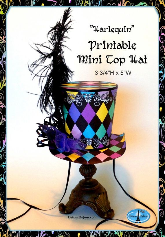 aaartz PRINTABLE Mini Top Hat DIY Mad Hatter Tea by DetourDuJour