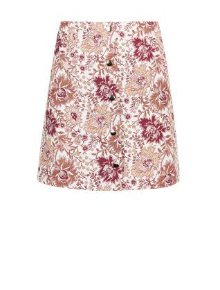 69209566bc White Floral Jacquard Popper Front A-Line Skirt   New Look   Style ...