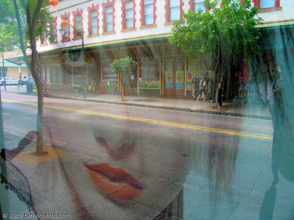 """Orange Lips"" by Barry Toranto  (single exposure window reflection)"