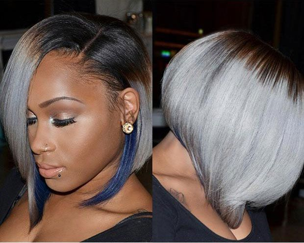 50 Short Hairstyles for Black Women | Blue highlights, Bobs and Gray