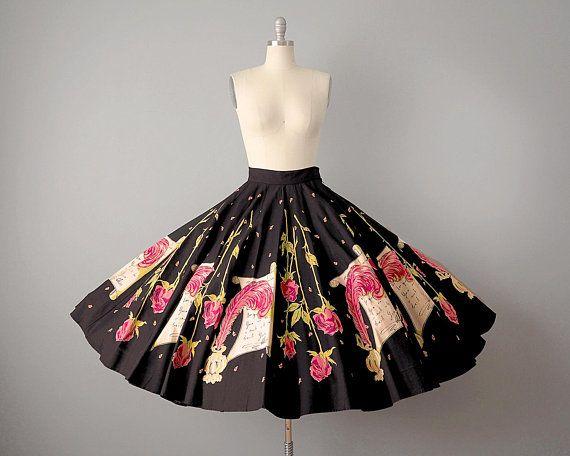 46ed5f906681f 50s Skirt // 1950's *Elvis Love Letters* & Roses Cotton Novelty Print Circle  Skirt — Rare 1950's Paneled Skirt // M