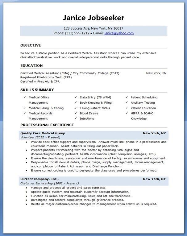 medical assistant resume sample  Creative Resume Design Templates Word