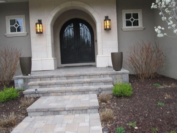 Front porch walkways porch steps cherry hills for Front door steps ideas