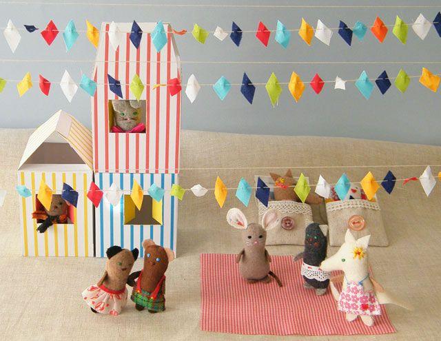 Oh, the ideas! Delightful fabric animal dolls, houses, sleeping bags by Matilde Beldroega.