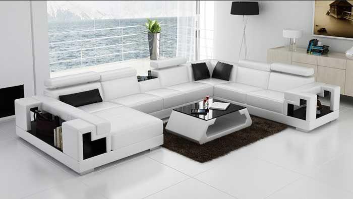 U Form Sofa Weiss Aus Leder Mit Regal Verwendung Couchtisch Weiss Mit Glasplatte Schwarz Auf Teppich Shaggy Corner Sofa Design Sofa Design Corner Sectional Sofa