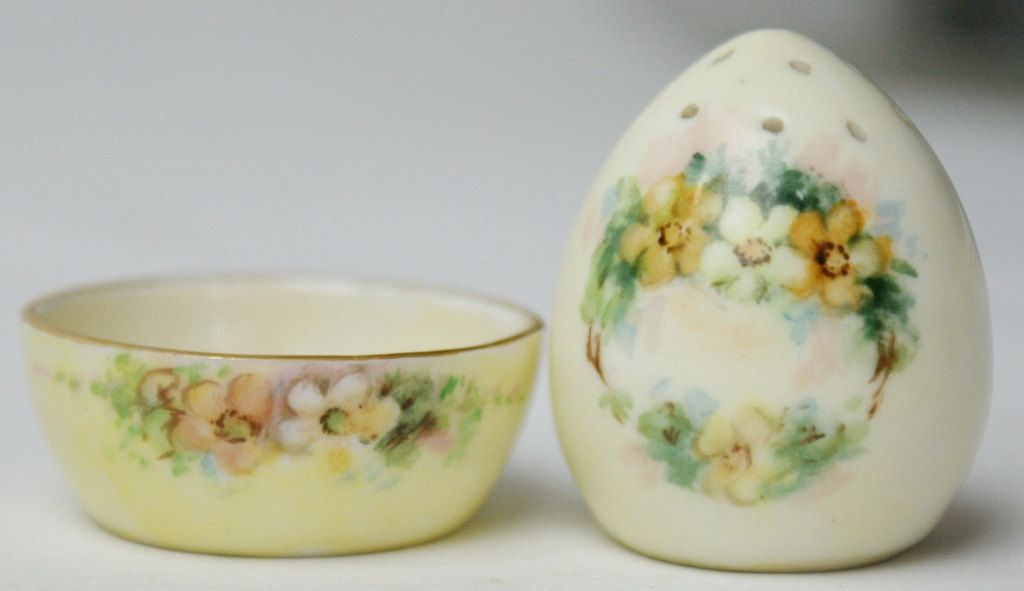 Rare Antique Noritake Nippon China Handpainted Salt Cellar & Shaker ...