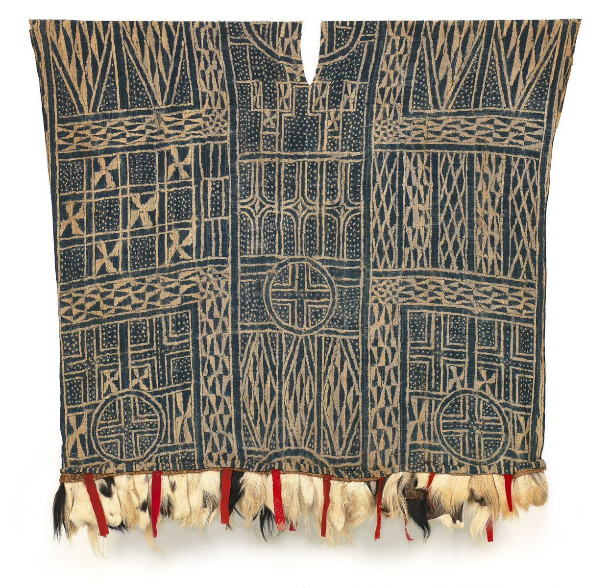 """Nzondoup Dance or Masquerade Ndop Tunic Bamum or Bamileke people Cameroon First half 20th century Cotton, trade cloth, goat hair  Strip weave, stitch resist dye Size: 57"""" x 64"""""""
