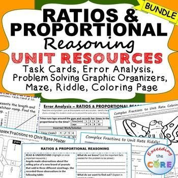 Ratios Proportions Bundle Task Cards Error Analysis Graphic