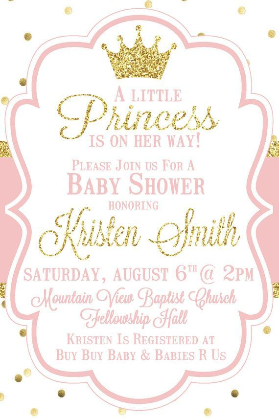 Little Princess Baby Shower Invitation Pink by SweetSimplySouthern ...