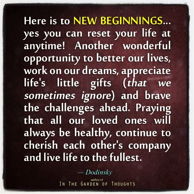 here is to new beginnings