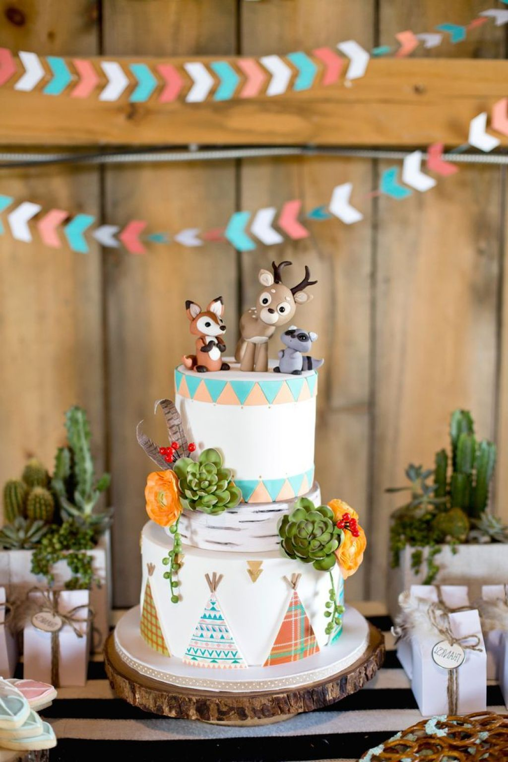 Very Cute Woodland Themed Baby Boys Shower Decoration With