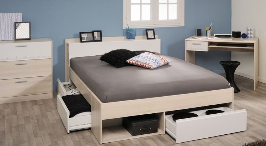 160iger Bett, Schreibtisch und Kommode MOST 60 Akazie
