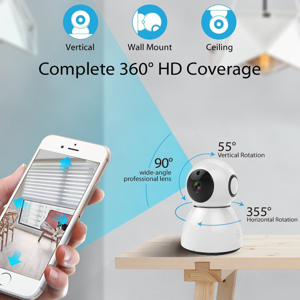 Wireless Wifi IP Camera Pan Tilt IR-Cut Home Security Camera 1080P ...