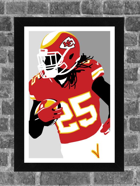 Kansas City Chiefs Jamaal Charles Portrait Sports Print Art 11x17