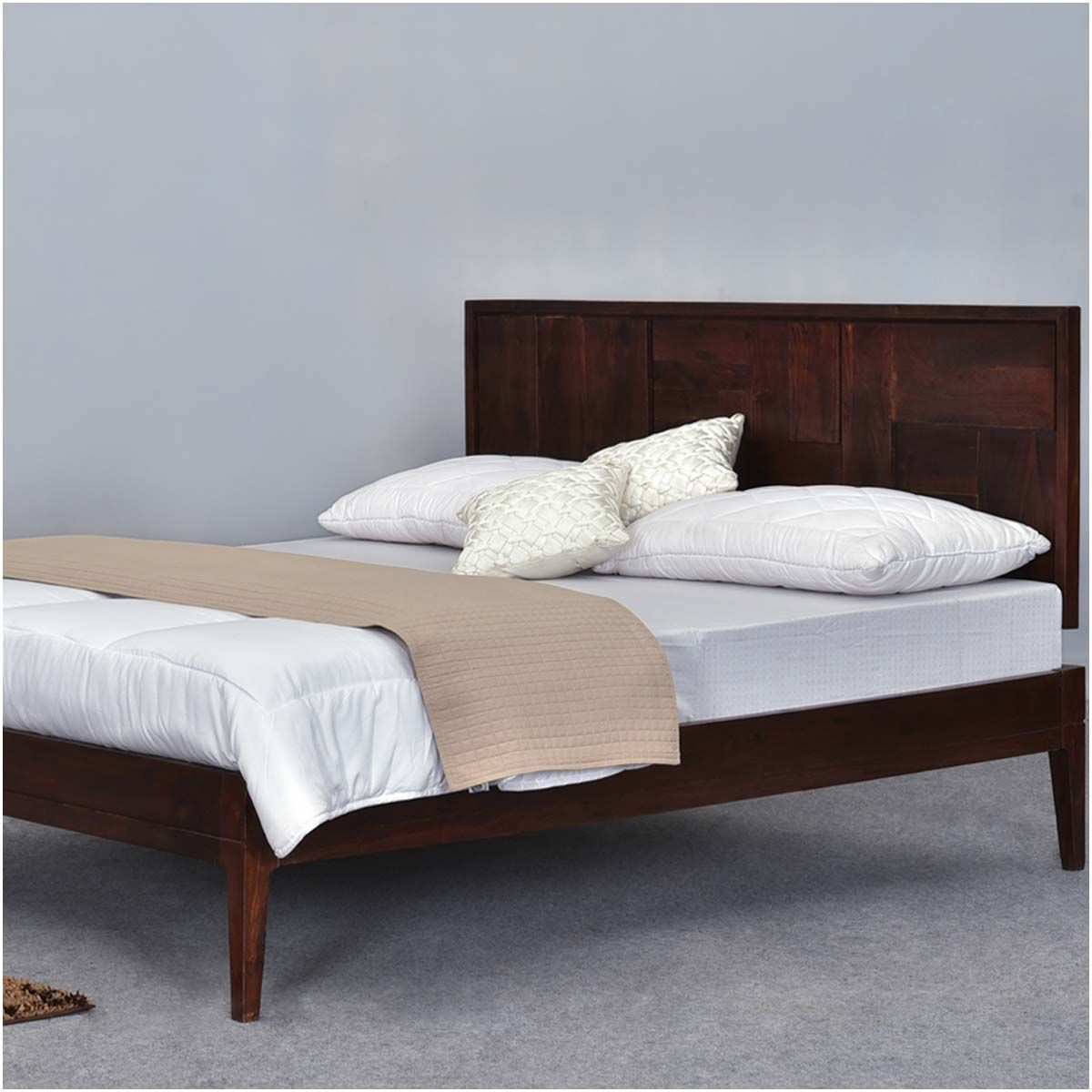 modern pioneer solid wood platform bed frame w headboard - Solid Wood Platform Bed